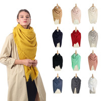 Wholesale blanket scarfs resale online - Fashion Woman Square Scarf CM Solid Color Tassel Long Scarf Oversize Winter Warm Shawl Wraps Pashmina Blanket TTA1741