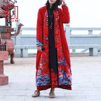 plumeau rouge achat en gros de-LZJN 2018 Hiver Trench Coat Femmes Chaud Long Veste Phoenix Floral Print Vintage Chinois Maxi Manteau Femelle Polaire Duster Duster