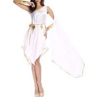 diosa vestidos casuales al por mayor-Diosa griega de Halloween Diosa blanca Vestido de vestir irregular juego uniforme Traje juego de rol Vestir Vestido de fiesta Ropa