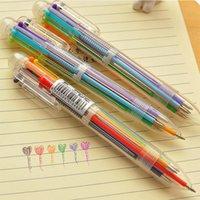 multicolor pen groihandel-1 stücke 6 In 1 Bunte Stifte Neuheit Multicolor Kugelschreiber drücken roten stift Multifunktions Schreibwaren Schulbedarf