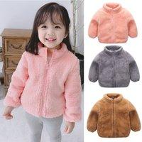 çocuklar için sevimli ilkbahar kıyafetleri toptan satış-Çocuklar Peluş Ceket Bebekler Fermuar Sevimli Kürk Bebek İlkbahar Sonbahar Sıcak Kıyafetler Çocuk Dış Giyim Sweatshirt ceket LJJA3161 Tops