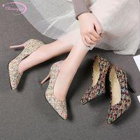 черная ткань китайская обувь оптовых-Китайский случайный сексуальный острым носом шерстяные ткани туфли насосы в полоску цвета соответствия скольжения на черный абрикос высокие каблуки туфли на шпильках женская обувь