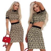 nachtkleider weiblich großhandel-Modedesigner brief gedruckt kleider sexy weibliche nachtclub 2 stücke, figurbetontes kleid getäfelten partei kleidung