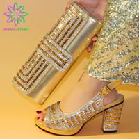 Wholesale matching shoes bag wedding resale online - Hot Selling Shoes and Bag Gold Color Italian Shoes with Matching Bags African and Matching Bag Wedding Sets