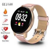 ingrosso vigilanza del tocco della donna-Smart Watch Women Completo touch screen fitness Tracker Cardiofrequenzimetro intelligente da polso impermeabile sport watch + Box
