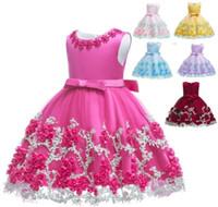 ingrosso vestiti arancioni delle ragazze di cotone di estate-2019 bambini tutu compleanno principessa party dress per ragazze infantili pizzo bambini damigella d'onore elegante vestito per le ragazze della neonata vestiti