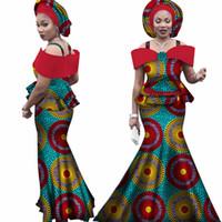 orange afrikanischen headtie großhandel-Kostenlose headtie Afrika Sets für Frauen Dashiki Plus Size Afrika Kleidung Bazin Kurzarm Traditionelle Afrikanische Kleidung WY3113