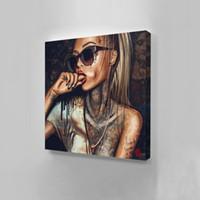 art mural salon africain achat en gros de-Toile Peinture Mur image impressions sur Nouveau Graffiti rue Wall Art Résumé Moderne Femmes Africaines Portrait Décor Pour Le Salon