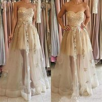 Wholesale champagne sweetheart neckline prom dress resale online - 2020 Pretty Applique Long Bridesmaid Dresses Sweetheart Neckline Floor Length Party Gowns Sleveless A Line Formal Prom Dress