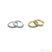 ingrosso orecchino del cerchio azzurro-2017 Hotstone88 Free Blue turquoise white cubic zirconia round 13mm hoop earring Huggie hoope multi piercing fashion women earbone jewelry