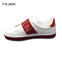 ingrosso scarpe da ginnastica in pelle-F.N.JACK 2019 Sneakers donna alla moda Comode scarpe da donna scarpe da ginnastica di design per donna Lace-up in vera pelle piatta per donna