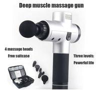 Wholesale shock gear resale online - Fascia gun muscle relaxer electric shock grab massage gun fitness stick deep vibration gear head Sports Rehabilitation