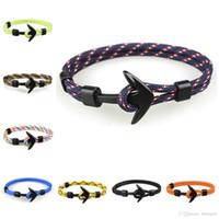Wholesale charms hooks resale online - Anchor Bracelets Men Black Men Charm Survival Rope Chain Paracord Bracelet Male Wrap Metal Sport Hooks mens bracelets