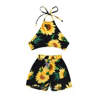 arkalıksız pantolon toptan satış-6M-3Years Yenidoğan Bebek Kız Backless Ayçiçeği Mahsul Tops Şort Pantolon Çiçek Giyim Kıyafetler Set