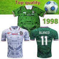 jersey de futbol de calidad tailandia xxl al por mayor-Tailandia Calidad Retro 1998 Copa del Mundo de México Camisetas de fútbol Clásicas Vintage HERNANDEZ 11 # BLANCO Inicio Fútbol verde mexico retro