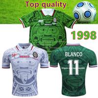 ingrosso messicano d'epoca-Thailand Quality Retro 1998 Messico Coppa del Mondo Classic Vintage maglie di calcio HERNANDEZ 11 # BLANCO Home Green football messico retro jersey