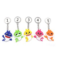Wholesale kids chains resale online - 5 Style Baby Shark Keychain New Cartoon baby shark PVC Key Chain for bag ornaments kids gift Keyrings toys B