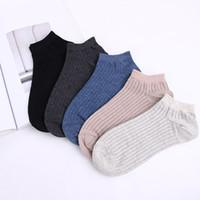 erkekler sığ ağız çorabı toptan satış-Erkek Ayak Bileği Çorap Anti-koku Yumuşak Pamuk Nefes erkek Düşük Kısa Çorap Vntage Sığ Ağız erkekler 30 çift / grup