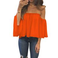 блузка с короткими рукавами оптовых-Женщины лето с плеча шифон твердые блузки оборками с короткими рукавами сексуальные топы Boho повседневные футболки