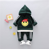 roupas de bebê para estoque venda por atacado-HOT Em estoque Best-seller de veludo ouro Engrossado 1-4 anos Meninos Bebés Meninas roupas + calças de coco de alta qualidade