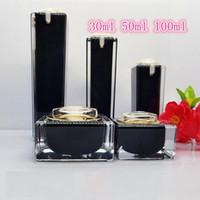ingrosso bottiglie quadrate nere-50pcs bottiglie di crema per la lozione acrilica nera quadrata Bottiglie di crema per la cura della pelle di lusso, contenitore per pompa di lozione acrilica