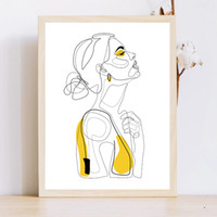Wholesale painting portrait woman for sale - Group buy Abstract Line Prints Drawn Female Portrait Poster Yellow Fashion Sketch Canvas Painting Minimalist Woman Art Decor Wall Picture