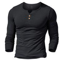 kaslı erkekler tişörtü toptan satış-MUSCLE ALIVE erkek henley tshirt donatılmış elbise kol gömlek erkekler için gömme gömlek pamuk rahat vücut geliştirme spor t-shirt