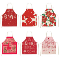 Wholesale red cotton aprons for sale - Group buy Red Christmas Apron Cotton Linen Pinafore Xmas Decor Pendant Adult Bibs cm Home Kitchen Cooking Accessories