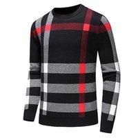 chaqueta de invierno a cuadros de los hombres al por mayor-2019 nueva moda otoño e invierno de los hombres de manga larga cuello redondo a rayas sudadera chaqueta a cuadros ropa casual suéter tamaño M-3XL