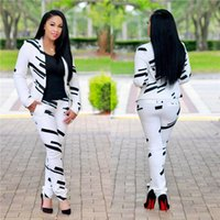 ingrosso cardigan a righe maniche lunghe da donna-Moda primavera donna due pezzi abiti stampati a maniche lunghe donne tute casual abbigliamento femminile