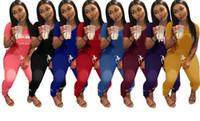 rosa quente suéter venda por atacado-Rosa quente Carta Imprimir 2 Two Piece Set top e calça Mulheres Treino 2018 Primavera Plus Size Casuais Outfit Camisola mulheres Sweatsuits