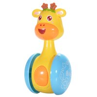 bebek oyuncakları 12 ay toptan satış-Karikatür Zürafa Tumbler Doll Roly Poli Bebek Oyuncakları Sevimli Çıngıraklar Halka Çan Yenidoğan 3 ila 12 Ay Erken Eğitim Oyuncak