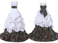 ingrosso grande abito di sfera di raso nozze-Camo di alta qualità personalizzato Camo Ball Gown Abiti da sposa con grandi fiocchi Bianco Satin Camouflage economici Vestido De Novia Abiti da sposa