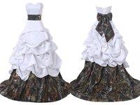 corsé de raso al por mayor-Vestidos de boda del vestido de bola del camo de encargo de la alta calidad corsé con los arcos grandes Camuflaje blanco del satén Vestido de novia barato de Novia Vestidos de novia