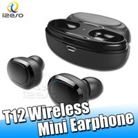 Wholesale retail package universal packaging online - T12 Wireless Bluetooth Mini Earphones In Ear Stereo Earbuds Light Weight Headphones Twins Earpieces with Charging Case Retail Packaging