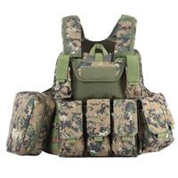 schwarz taktischen körper rüstung großhandel-Jagd Tactical Weste mit vielen Taschen Molle Plate Carrier für Herren Jagd schwarz Camouflage Weste