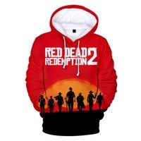 diseñador rojo hombres sudaderas con capucha al por mayor-RED DEAD Game Otoño Sudadera con capucha Hombres Casual Hip Hop Manga larga Fleece Pullover Sudadera con capucha Diseñador