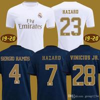 camiseta de fútbol de bala al por mayor-2019 Real Madrid HAZARD camisetas de fútbol EA SPORTS JERSEYS 18 19 20 Local Visitante MODRIC MARCELO 2020 Mariano VINICIUS JR KROOS ISCO ASENSIO RAMOS BALE MARCELO Kits Shirts