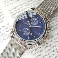 смотреть мужчин оптовых-Высококачественные мужские наручные часы BOSS 43 мм из стали Mesh Часы мужские кварцевые водонепроницаемые часы мужские дизайнерские часы Luxury Мужские часы orologio