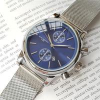 relojes de cuarzo de lujo para hombres. al por mayor-Hombres de alta calidad BOSS reloj de pulsera de 43 mm de acero Relojes de malla Reloj de cuarzo resistente al agua para hombre relojes de diseño para hombre Relojes para hombre de lujo orologio