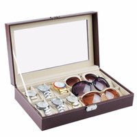 Wholesale watch glass boxes for sale - Group buy Multifunctional PU Watch Boxes Jewelry Watch Glasses Display Box Glass Window Jewelry Accessories Storage Organizer Holder Box