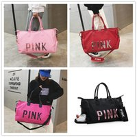 Wholesale girls shoes china online - Sequins PINK Letter Duffle Bag Unisex Shoulder Bags Oxford Waterproof shoes Handbag Large Capacity Travel Sports Beach Bags Totes Colr A411