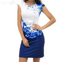 ropa de dama azul al por mayor-Vestido de verano floral de las mujeres más el tamaño 3xl elegante vestido de fiesta de oficina para mujer Vestido delgado de la envoltura del vestido ajustado azul ropa de diseñador