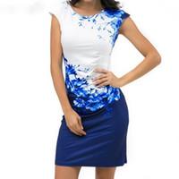 ropa de dama azul al por mayor-Vestido floral de las mujeres del verano más el tamaño 3xl elegante vestido de fiesta de la oficina de las señoras Vestido de la envoltura delgada femenina Vestido ajustado azul ropa de diseñador