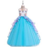 kind mädchen abendkleider großhandel-Teenager Party Kleider Puffy Perlen Blumen Kinder lange Abendkleid für Mädchen Kid Kostüm fit 5-16 Jahre