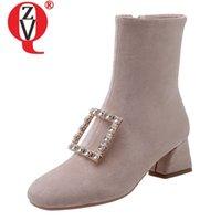 botas de tornozelo de diamante negro venda por atacado-ZVQ escritório ankle boots de couro genuíno moda de Cristal diamante decoração inverno damasco preto 5 cm meados de saltos sapatos das mulheres 40CN