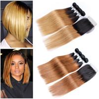 ombre sarışın saç örgüsü toptan satış-Öpücük Saç 1B 27 Bal Sarışın 1B 30 Düz Ombre İnsan Saç Dokuma 3/4 Demetleri ile Dantel Kapatma Brezilyalı Bakire Saç