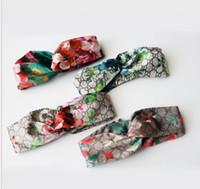 Wholesale women silk headbands for sale - Group buy Hot G Style Silk Cross Turban Headband Women Girl Elastic Hair bands Retro Turban Headwraps Gifts Flowers Hummingbird Orchid