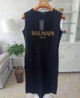 robe t-shirt imprimé achat en gros de-Mode Filles Robe Sexy Femmes Sans Manches Lettre Imprimer T Shirt Dress Coton Robe Unie Femme