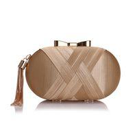ingrosso borse di stile del cuscino-Nuovo arrivo stile caldo borsa da sposa in raso con decorazione nappa banchetto abito da sera frizione borsa borsa cuscino minaudiere